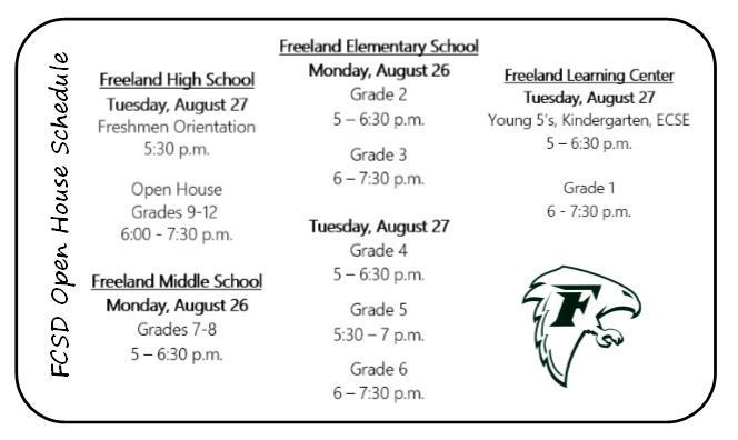 FCSD Open House Schedule