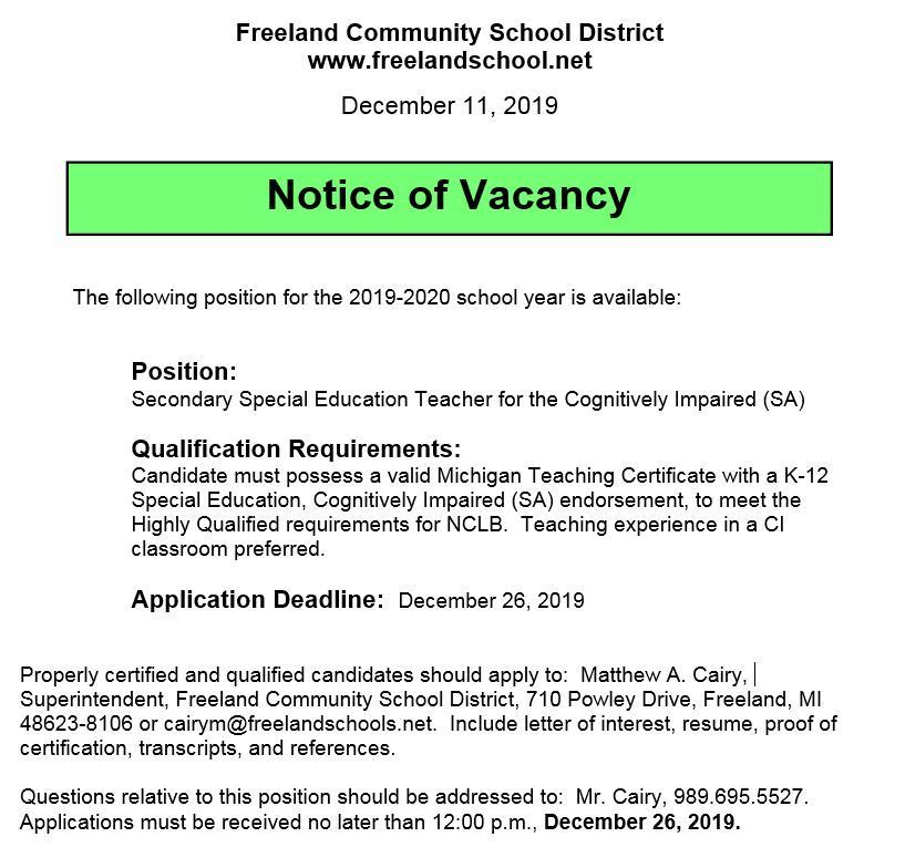 Special Education Posting